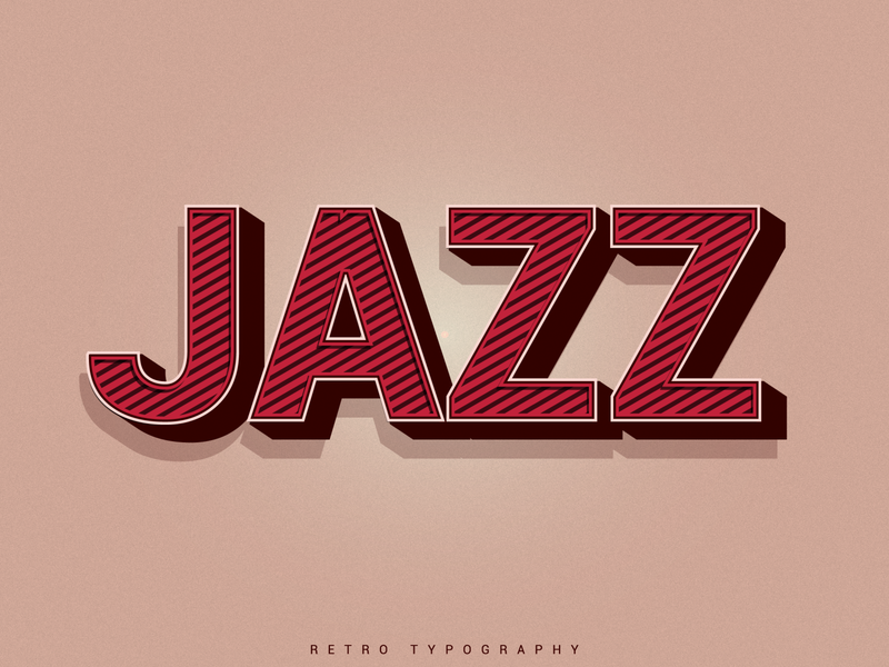 Retro vintage Text Effect  -- JAZZ ! minimal business logo vector design illustrator logo logodesign clean identity branding retrowave