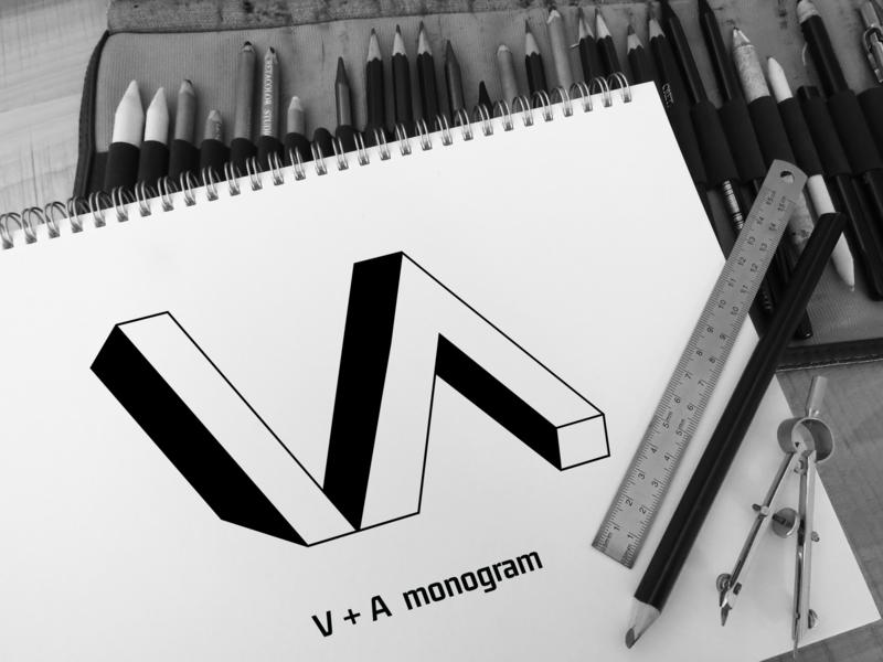 V A Monogram app lettering icon vector typography minimal logo flat illustrator illustration identity design clean branding