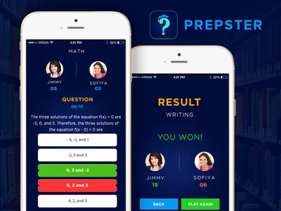 Educational Quiz App interface mobile trivia education blue app android ios design ux ui quiz