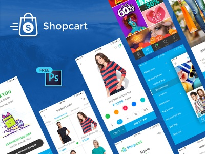 Free UI PSD for eCommerce mobile app shopping psd free blue icon logo animation android ios app ecommerce