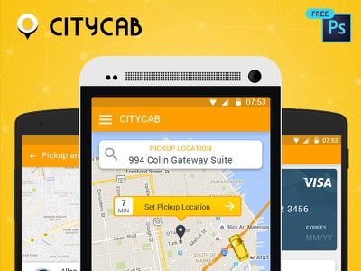 Download Free UI PSD for Uber like Taxi Mobile App ui christmas download design material psd free uber mobile app taxi