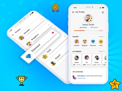 Keep your users motivated; Reward them with virtual badges android ios mobile app ui  ux feeds progress bar profile gamification rewards badges