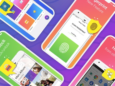 Keep All Your Private Pics & Videos Safe ux ui app ios android album security illustration design gradiant photo hide app lock finger scan security app