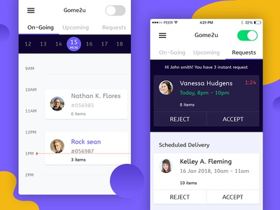 On Demand Service ui  ux design android ios task list schedule task management notification service provider app manage request ondemand drivers app