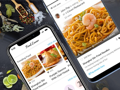 Food Lover App food and drink food app feed uidesign recipe app ios app mobile app design social app