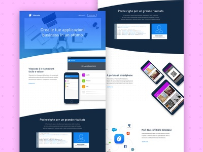 Vibecode – Homepage software framework layout design
