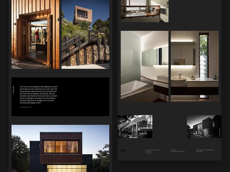 Malcolm Taylor & Associates architecture case study 2 portfolio dark architect architecture black minimal auckland new-zealand responsive web