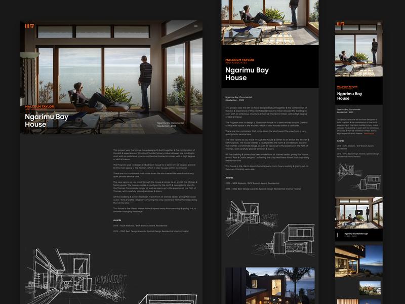 Malcolm Taylor & Associates responsive case study portfolio dark architect architecture black minimal auckland new-zealand responsive web