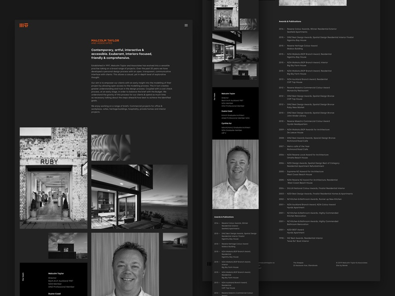 Malcolm Taylor & Associates about page grid dark architect architecture black minimal auckland new-zealand responsive web