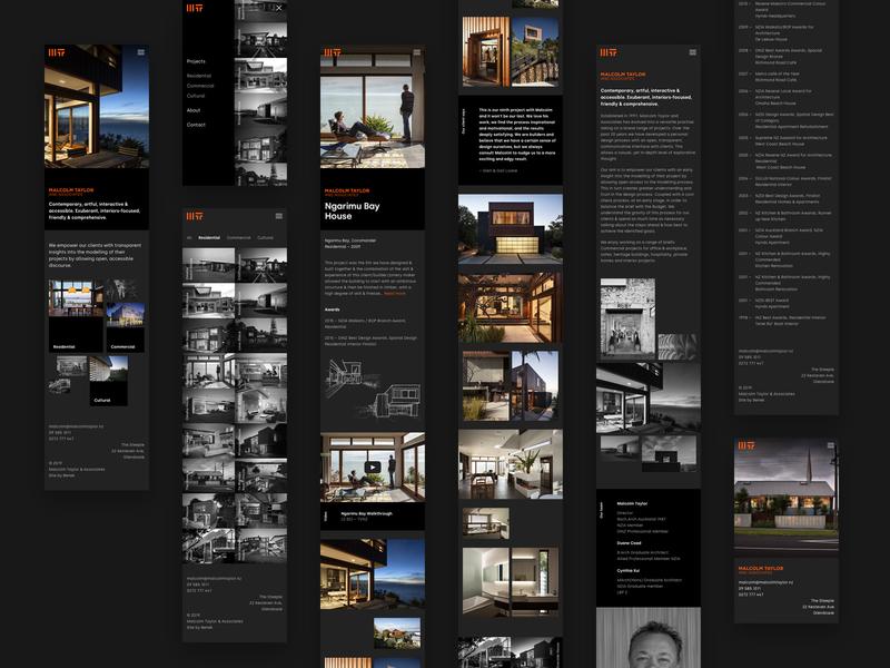 Malcolm Taylor & Associates mobile web views black dark architect architecture auckland new-zealand mobile responsive web