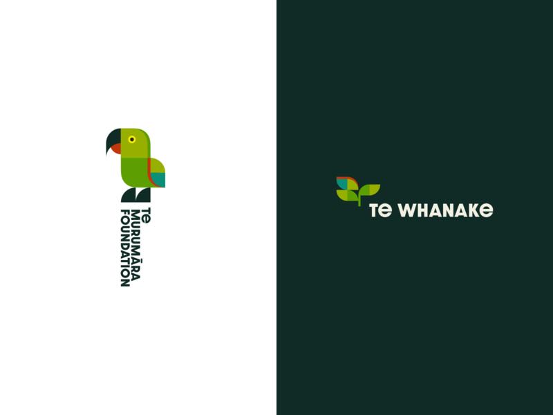 Te Murumara Foundation / Te Whanake Branding red green maori new-zealand logo plant bird geometric branding brand