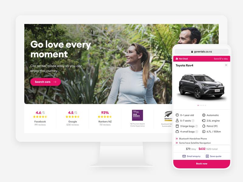 GO Rentals website redesign booking pink vehicles car rentals tourism mobile new-zealand responsive web