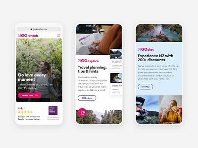 GO Rentals website mobile views 1 uxdesign pink travel tourism booking rental car new-zealand responsive web