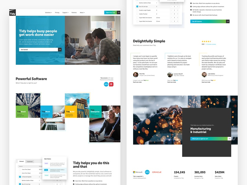 Tidy website redesign blue pattern grid square saas software new-zealand responsive web