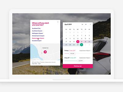 GO Rentals itinerary controls location datepicker calendar itinerary booking rental car new-zealand responsive web
