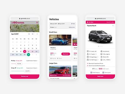 GO Rentals website mobile views 2 datepicker vehicle booking rental car mobile new-zealand responsive web