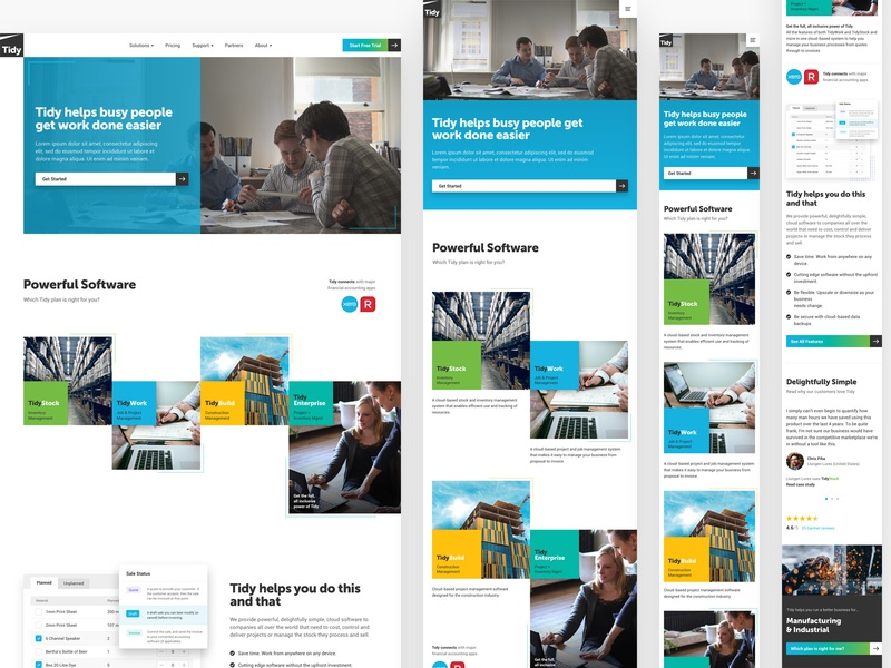 Tidy website responsive homepage mobile grid square cloud saas software new-zealand responsive web