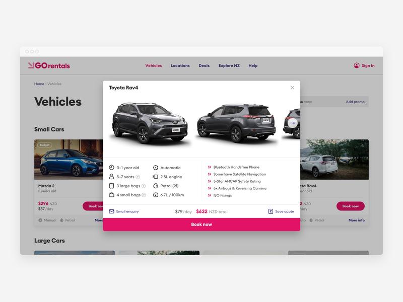 GO Rentals vehicle detail pink tourism travel vehicle booking rental car new-zealand responsive web
