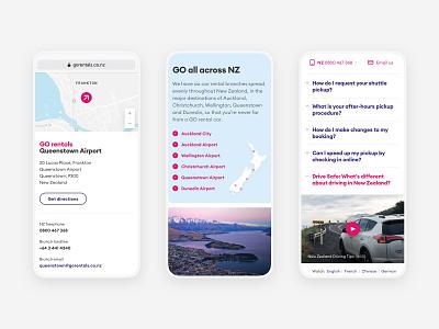 GO Rentals website mobile views 3 map travel tourism booking vehicle rental car new-zealand responsive web