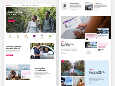 GO Rentals website homepage rhythm grid tourism travel booking vehicle rental car new-zealand responsive web