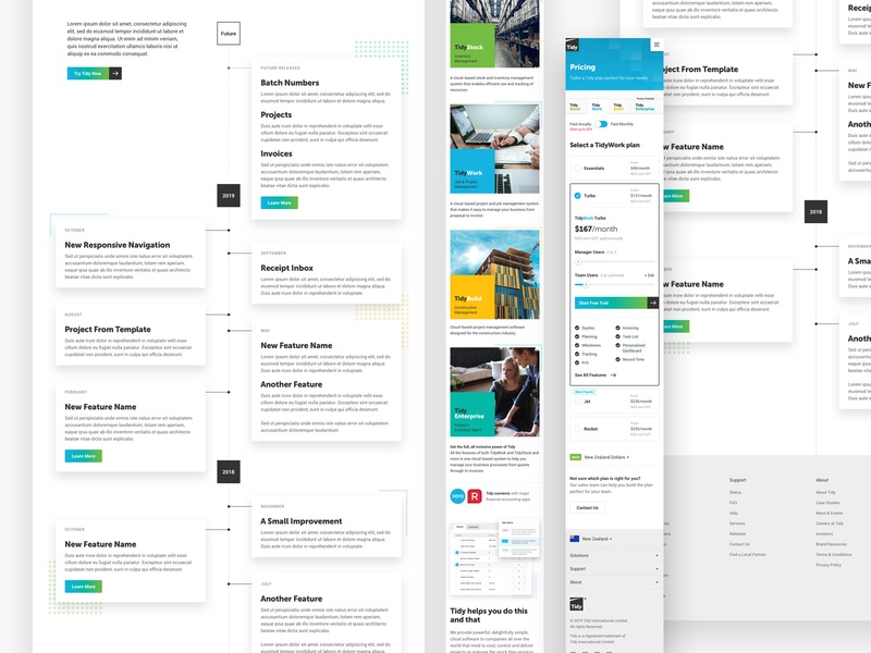 Tidy website feature timeline mobile features timeline pricing sass software new-zealand responsive web