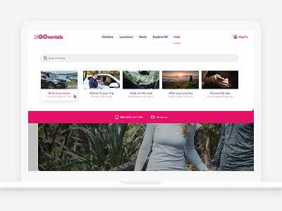 GO Rentals website dropdown nav navigation menu tourism travel rental car pink navigation new-zealand responsive web