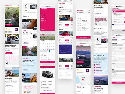 GO Rentals website mobile views 4 pink tourism travel booking rental car mobile new-zealand responsive web