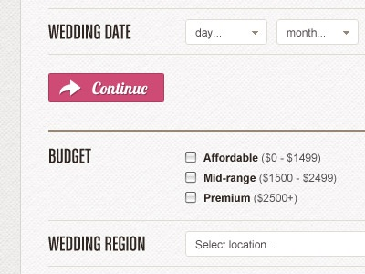 Wedding Bands Quote Form web white texture form input select button label