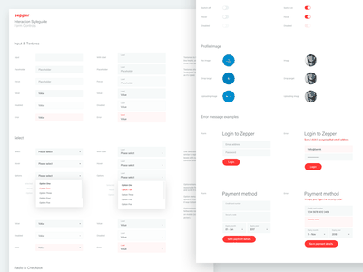 Zepper Interaction Styleguide - Form Controls interaction design-system styleguide new-zealand conversational ai web-app web ui interface