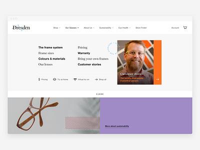 Dresden mega menu navigation vision eyewear ui ux menu navigation ecommerce responsive web