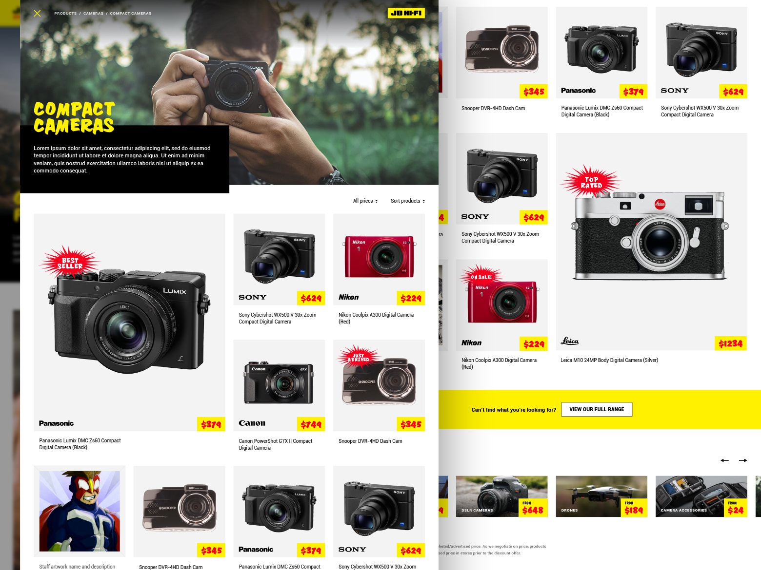 JB Hi-Fi product category page grid products yellow cameras electronics retail ecommerce responsive web