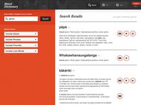 Maori Dictionary iPad App Search Results