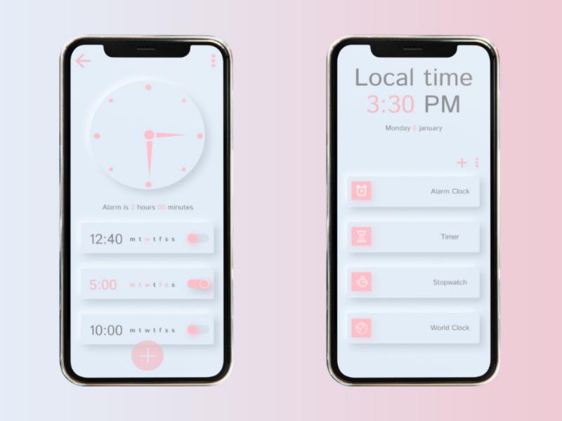 Alarm app design ui ux figma
