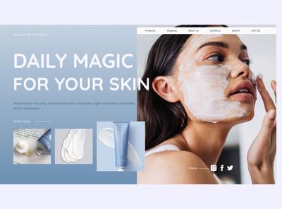 Summer friday website homepage typogaphy webdesign web ui skincare minimal hearth beauty product beauty design