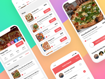 Food App - Restaurant Screens Mockup pay apple invite dishes iphone application dishs order profile friends menu food app