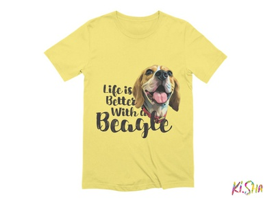 "T-Shirt ""Life is Better With a Beagle"" illustration typography design life dog beagle accesories tshirt"
