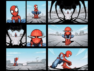 Spiderman Storyboard Sequence spiderman roof marvelcomics marvel illustration drawing comic art comic city art