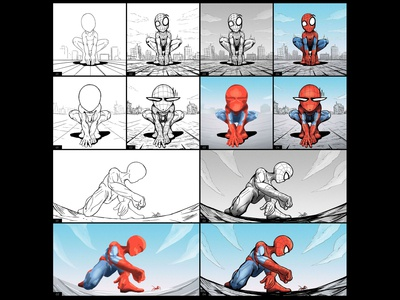 Spiderman Storyboard Creation Process spiderman roof marvelcomics marvel illustration drawing comic art comic city art
