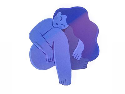 Wrapped up illustrator illustration yoga calm soothing blue bodypositive