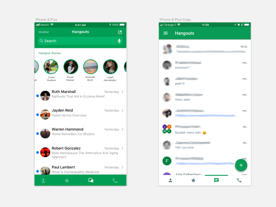 Google Hangout redesign by Adrien DONOT on Dribbble