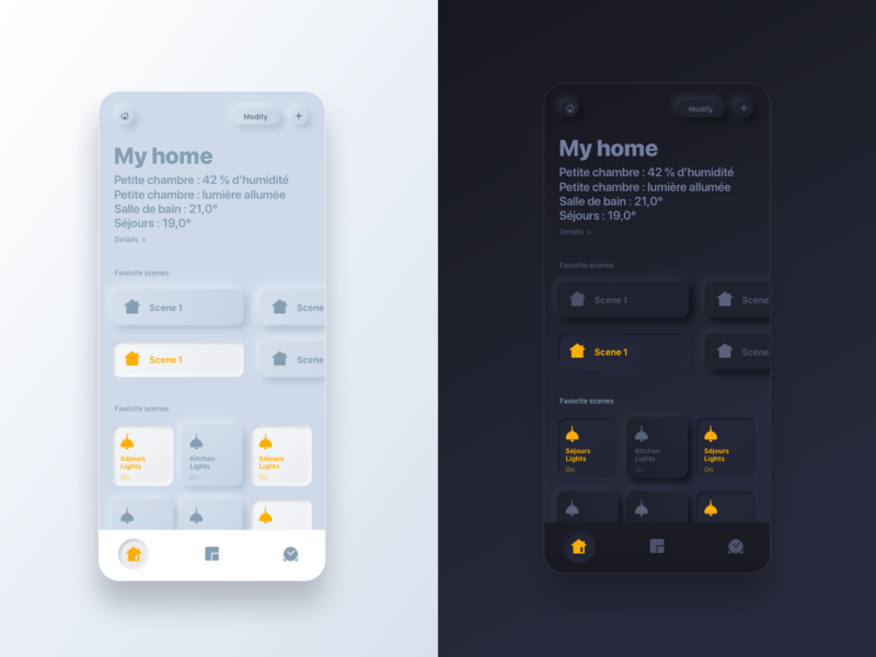 Neumorphic iPhone Home app redesign dailyui dark theme light dark neumorphism neumorphic design ui sketch