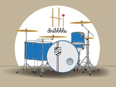 Hi Dribbble silver blue design music drums hello dribbble illustration
