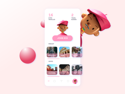 User profile for a travel buddy app user profile profile clean ui rainbow screen travelapp design art 3d clean designer mobile ui app mobile app mobile 2021 uxui ui uidesign design dailyui