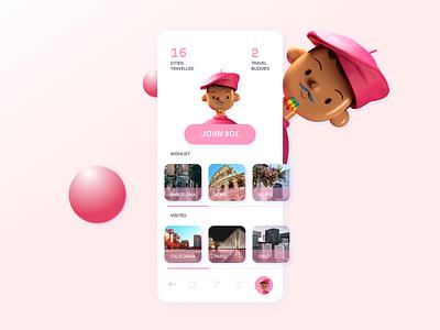 User profile for a travel buddy app user profile profile clean ui rainbow screen travelapp design art 3d clean designer mobile ui app mobile app mobile 2021 uxui ui uidesign design dailyui