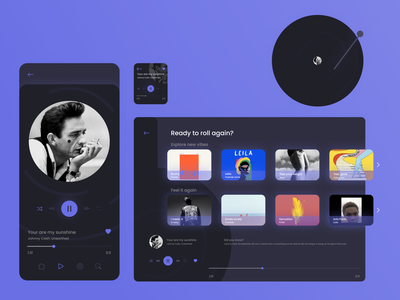Music player for different devices desktop design desktop device responsive responsive design vinyl music app music app ui music devices webdesign clean ui clean app 2021 uxui ui uidesign design dailyui