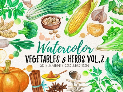 Watercolor Vegetables, Herbs, Green