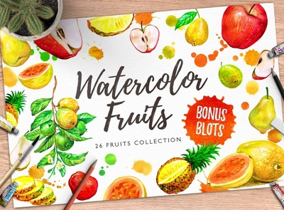Watercolor Fruits 01