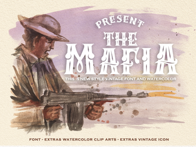 Mafia Font and Mix Watercolor