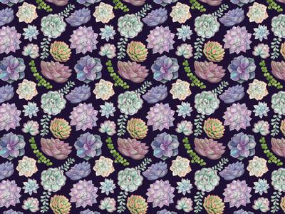 Watercolor Pattern Succulents