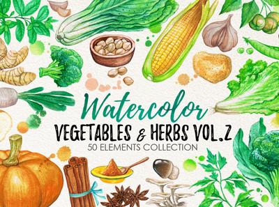 watercolor vegetables 2